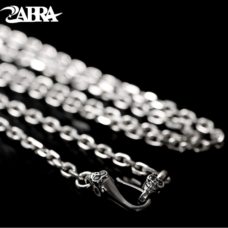 ZABRA Pure 925 Silver Skull Head Necklace White Stone 4mm 50 75cm Long Chain Men Vintage