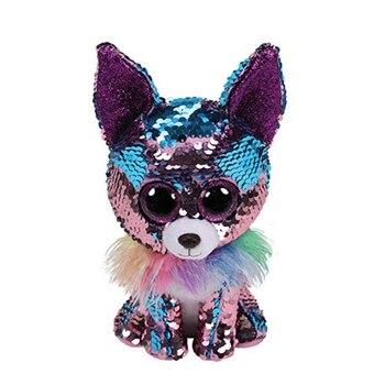 TY Beanie Boos 15cm white sequin Unicorn Dog Olw Dange Alpaca Dragon Plush Toys Big Eyes Eyed Stuffed Animal Soft Toy Kids Gift Щипцы