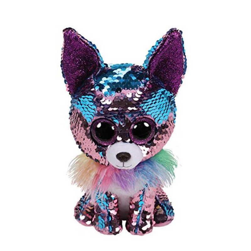 TY Beanie Boos 15cm sequin Unicorn Dog Dragon Chihuahua Fox dolphin Plush  Toys Big Eyes Eyed b1bc7b424064