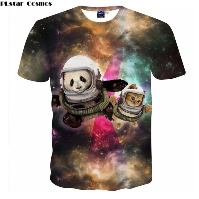 f6ec201904 Dropshipping 3d Printed T shirts Men Women Space Galaxy Cat Panda Astronaut  T-shirt Unisex Harajuku T shirt Summer Tee Shirts