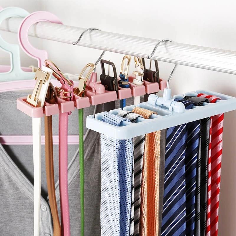 Rack Tie Belt Scarf Holder Hanger Hook Storage Organizer Wardrobe Space Saver