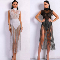High Neck Sleeveless Lace Tassel Jumpsuit Nightclub Dress Stage Clothes For Singers Celebrity Dresses Birthday Outfits DNV10971