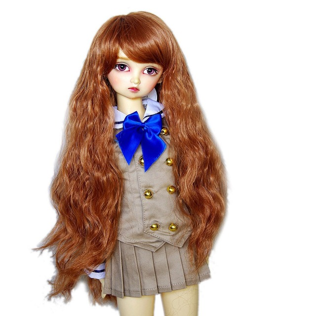 [wamami] 97# Long Wig/ Curling Wig/Brown Wig For 1/6 SD AOD DOD BJD Dollfie 6-7""