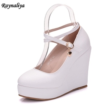 Career Round Toe Plus Size Shoes Women Wedges Heels Soft Leather Black Shoes For Women Autumn White Office Shoes New XY-A0069 flamingo shoes 92b xy 1650 shoes for children 23 28