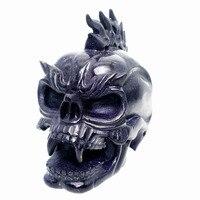 5,5 1450 г, синий песок яшма ручной резной кристалл Единорог хрустальный череп Реалистичная Исцеление меблировки фигурка TE63