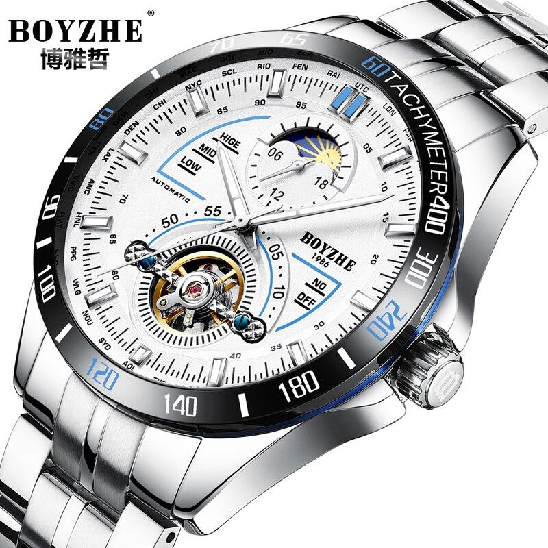 цена на BOYZHE Mechanical Automatic Tourbillon Watch Men Luminous Stainess Steel Moon Phase Calendar Mens Watches Sports Erkek Kol Saa