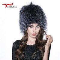 Women's Hat Winter Hats for Women Genuine Fox Fur Hats Knitted Silver Fox Fur Caps Female Russian Bomer Caps W#10