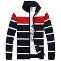 Free Shipping 2016 New Men's Sweater Zipper Long Sleeve Wool Sweater Knitwear Men's Striped Cardigan Sweaters WN 105