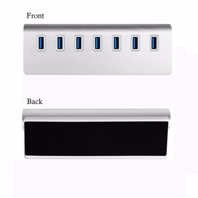 hot-USB 3.0 Hub 7-Port Portable Aluminum charging and Data Hub 3-Foot USB 3.0 Cable (Silver) 4