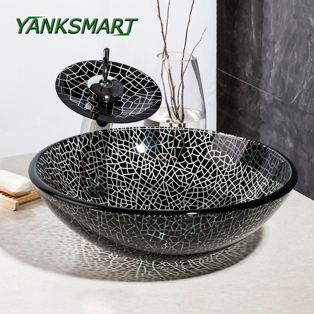 Online Shop YANKSMART Hand Painting Bathroom Black & white Washbasin ...