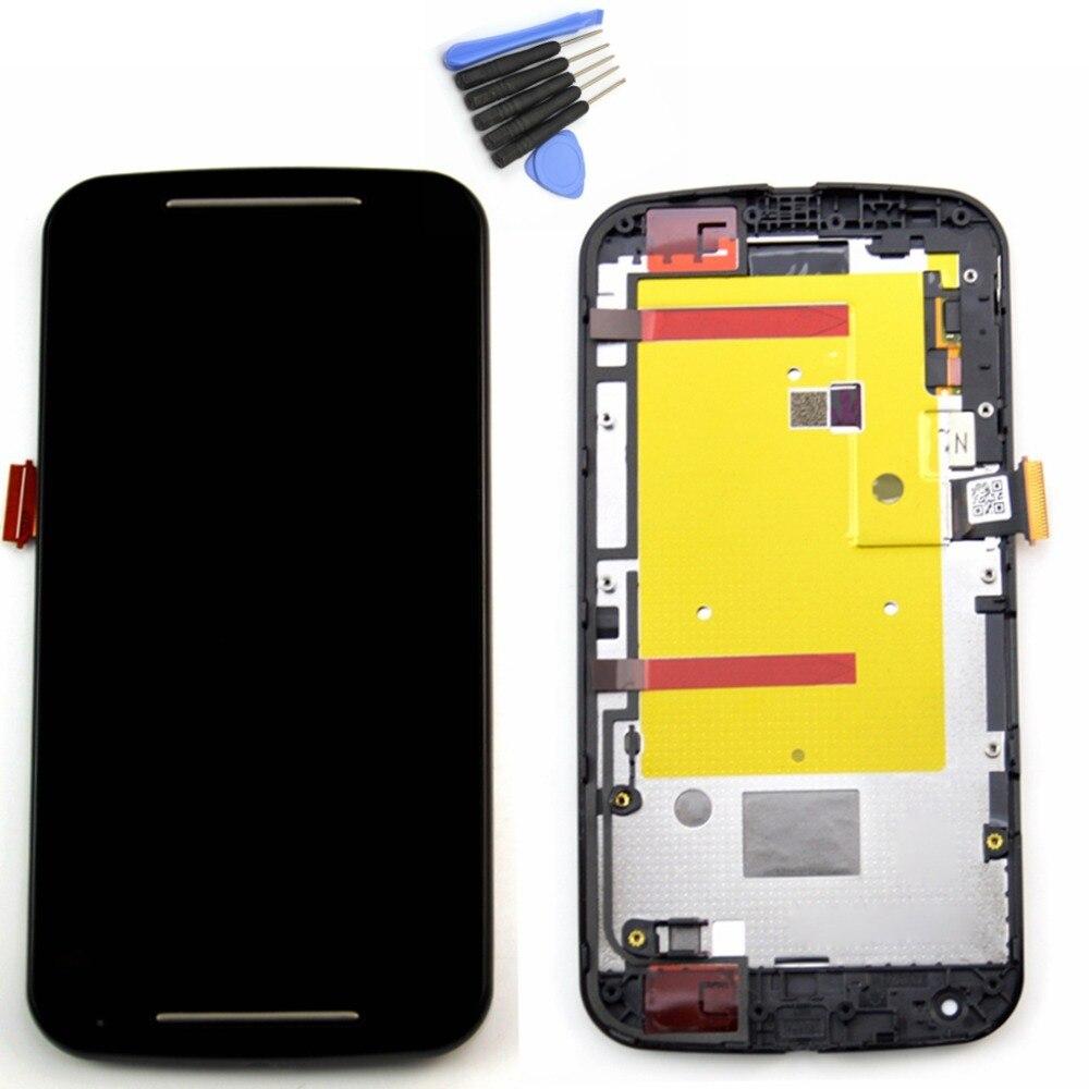 ФОТО For Motorola MOTO G2 XT1063 XT1068 XT1069 Lcd display touch screen digitizer Assembly Bezel frame + Tools , Black Free shipping