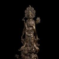 ATLIE Cổ Đồ Cổ Trung Quốc Tây Tạng Phật Giáo Đồng Goddess Of Mercy kwan-Yin Tượng Phật Quán Thế Âm Điêu Khắc