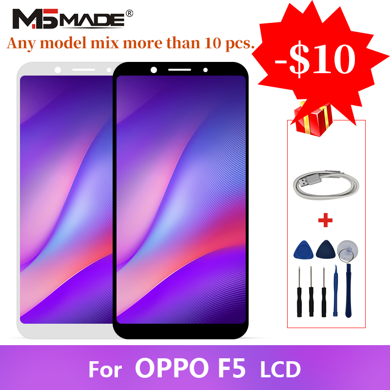 Original For <font><b>OPPO</b></font> <font><b>F5</b></font> LCD <font><b>Display</b></font> Touch Screen Digitizer Replacement Assembly Parts With Frame Free Shipping 100% Tested image