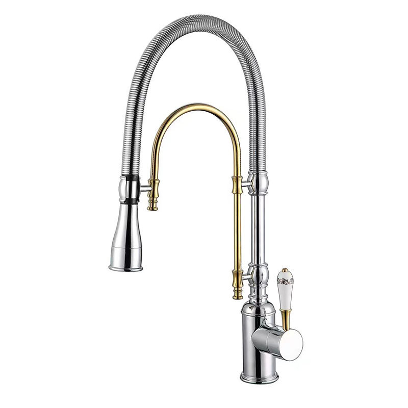 Kitchen Faucets Gold Brass Faucets for Kitchen Sink Single Lever Pull Out Spring Spout Mixers Tap