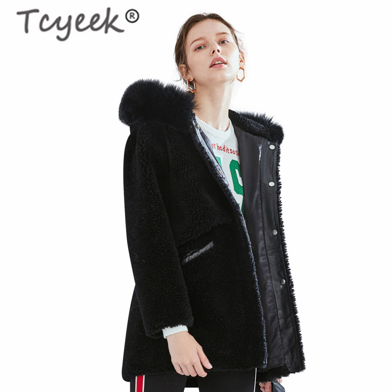 Tcyeek Real Fur Coat Female Winter Jacket Hooded Women Clothes 2019 Korean Thick Warm Black Long Coat Ladies Jacket Hiver F33615