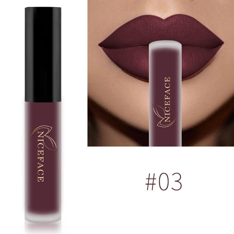 NICEFACE Lip Gloss 26 Colors Nude Matte Liquid Lipstick Mate Waterproof Long Lasting Moisturizing Lipgloss Lip Makeup Cosmetics 5