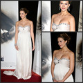Amazing Maternity Dresses Celebrity Bandage Gown 2016 Strapless Crystal Ruffy White Chiffon Long Prom Party Dresses Vestidos