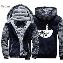 Develop The Moon Hoodie Men Science Hooded Sweatshirt Coat 2018 Winter Warm Fleece Thick Zipper Funny Jacket Brand Streetwear