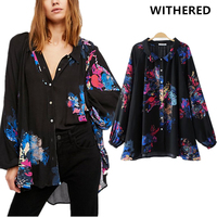 Withered 2017 Blusas Blouse Women Kimono Ethnic Style Loose Vintage Floral Printing High Street Loose Shirt