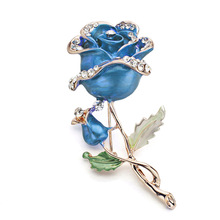 1 PCS Red Blue Rose Flower Brooch Garment Accessories Wedding Bridal Jewelry Crystal Brooches for Women Z015