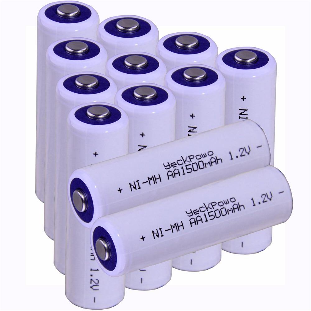 Real capacity! 12 pcs AA 1.2V NIMH AA rechargeable AA battery 1500mah YECKPOWO for camera razor toy remote control flashlight