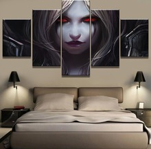 New 5 Piece Warcraft Sylvanas Game Poster Modern Decorative Paintings on Canvas Wall Art for Home Decorations Decor(Frame)