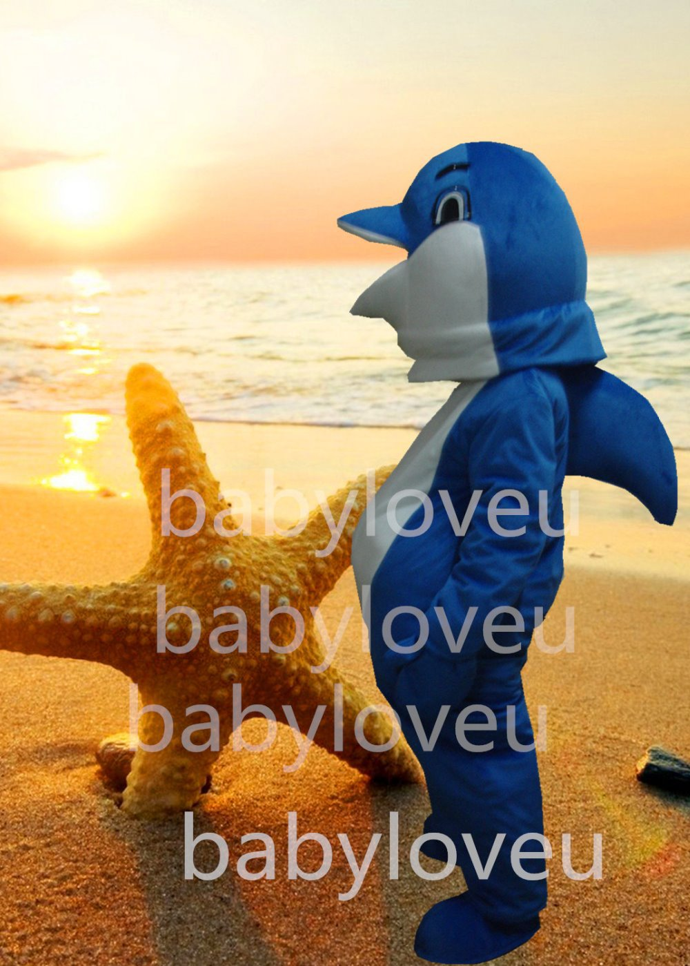 Deluxe Sea Animal Mascot Blue Dolphin Mascot Costume Adult Customized Mascotte Outfit Suit Fancy Dress for Carnival Party