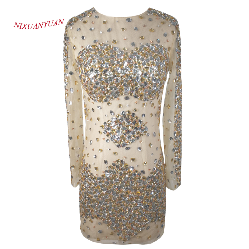 NIXUANYUAN Real Picture Champagne Tulle Illusion Sexy   Cocktail     Dresses   2017 Short Beaded vestidos de   cocktail   With Full Sleeves