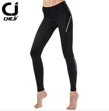 CHEJI Bike Cycling Pants Long Women Black With 3D GEL Pink Pad Bicycle Tights
