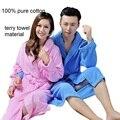 2015 Зима автомобильных чистого хлопка полотенце материальные халаты халат Унисекс с длинным рукавом халат утолщаются плюс размер домой случайный пижамы