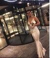 Elegante Sirena del Satén Largo Vestidos de Noche Profundo Atractivo del V Cuello Correas Espaguetis Sin Espalda Vestido de Fiesta 2017 Mujeres Formal Vestidos Del Partido