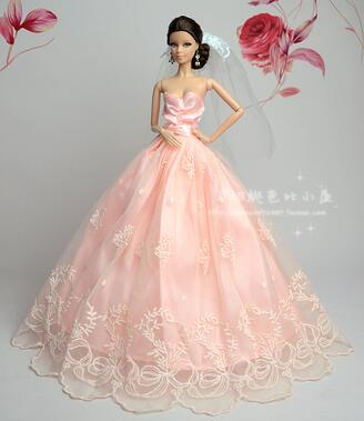 New for Barbie doll clothes princess bride fashion wedding dress girl toy birthday gift Gift Set