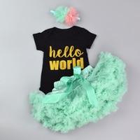 Cotton Baby Bodysuit Set Kids 3Pcs Outfit Clothing Sets Newborn Girls Birthday Present Letter Print Romper