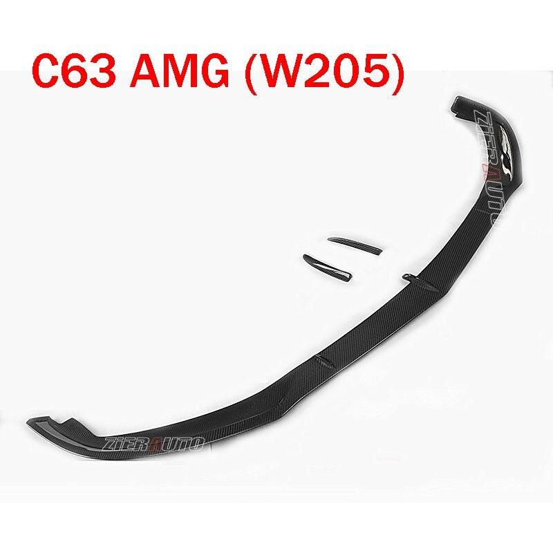 MODO-Estilo frente Lip Para Mercedes Benz C63 AMG Corpo Kits W205 Cupê C63 AMG Fibra De Carbono do Amortecedor Dianteiro lábio