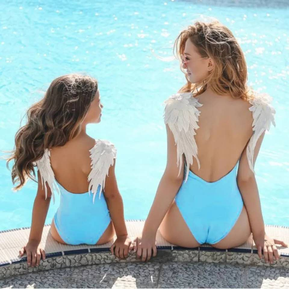 Mom Baby Swimwear Angel Wings Swimsuit One Piece Swimwear Family Bodysuit Parent child Beach Wear Solid Backless Bathing Suit in Children 39 s One Piece Suits from Sports amp Entertainment