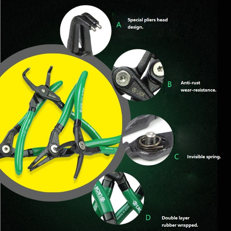 Pinza per anelli elastici LAOA da 7 pollici Punta diritta curva tipo - Utensili manuali - Fotografia 2