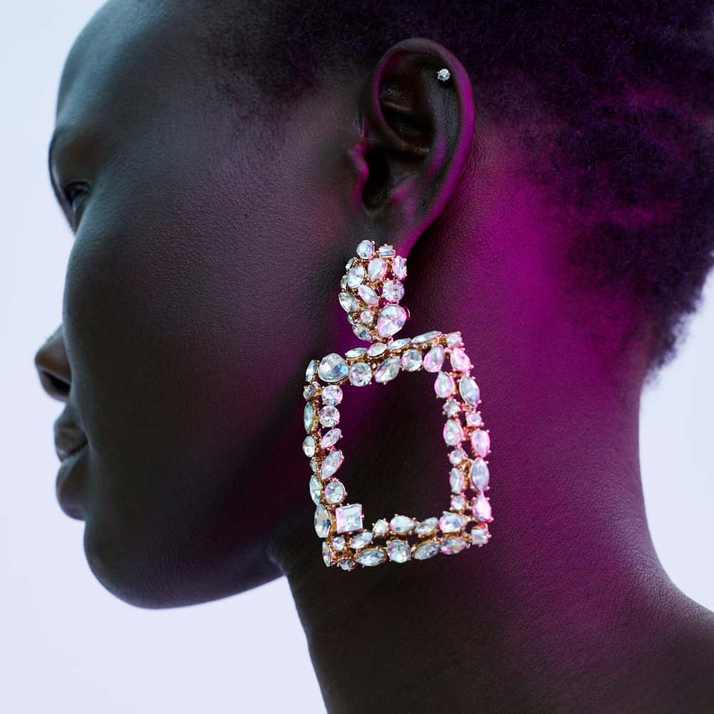 782659b082fb Flatfoosie 2018 Za cristal cuelgan los pendientes para las mujeres aleación  de Metal cuadrado pendiente de