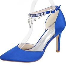 LOSLANDIFEN Women Crystal Pendant Ankle Strap Wedding Shoes 8CM High Heels  Satin Silk Pointed Toe Bridal f0a7094ac79f