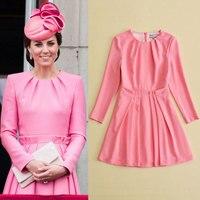 ShowMi Prinzessin Kate Middleton Kleid 2017 Herbst Frau Kleid O-ansatz Lange Hülse A-Line Rosa Elegante Kleider Arbeitskleidung Kleidung