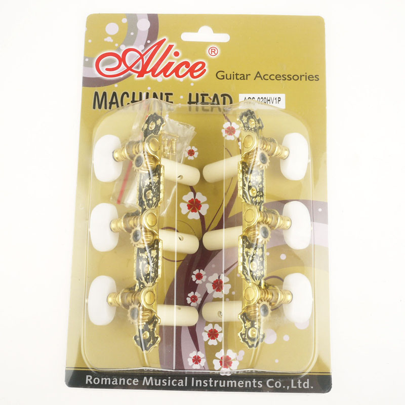 Alice Classical Guitar Gold /Black Plated Tuning Keys Pegs Tuners Machine Head For Nylon Guitarra 5 pcs alice normal high tension clear nylon classical guitar string normal tension silver plated copper wound strings