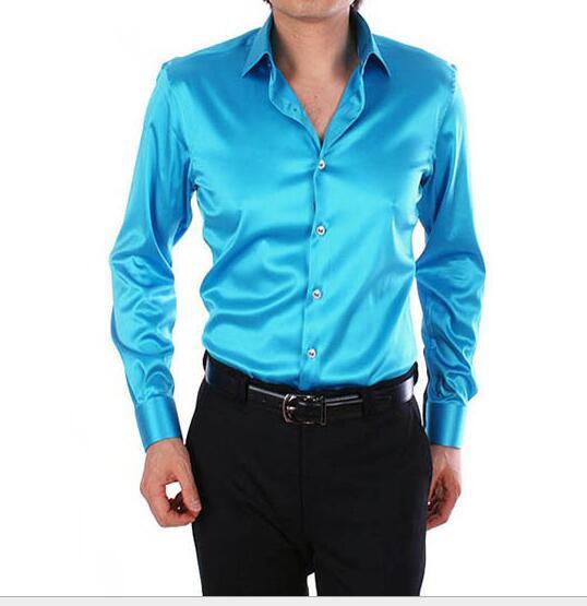 Los hombres de Alta Calidad Camisas de Esmoquin de La Boda Peluquería de Artes Escénicas DJ Hombres de Seda de manga larga Camisa más del tamaño S-XXXXXL venta caliente