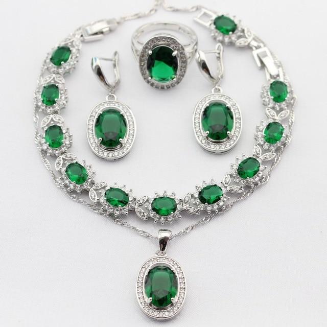 Encantos Redondos Plateados Plata Collar Colgante Pendientes Anillos pulsera Greeen Imitado Esmeralda Topacio Blanco Conjuntos de Joyas de Navidad