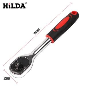 Image 4 - HILDA Juego de herramientas de reparación de automóviles, juego de herramientas combinadas con llave, cabeza de lote, trinquete, llave de vaso, destornillador, juego de enchufes, 53 Uds.