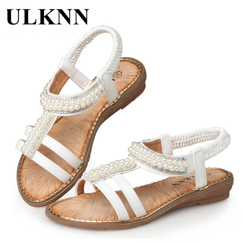 ULKNN White Flat Cut-Outs Children Shoes Roman 2019 Shoe For Kids Shoes For Girls Sandals Pearl Beading Summer Beach Sandals