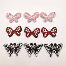 30pcs/lot Butterfly Shape with Shiny diamond Padded appliques for headwear decoration handmade hair accessories