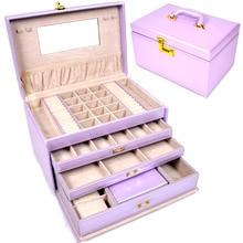 Большое пространство шкатулка с ручкой для колошения, браслеты, часы, колье хранения или дисплей украшения свадебные подарки подарок на день рождения