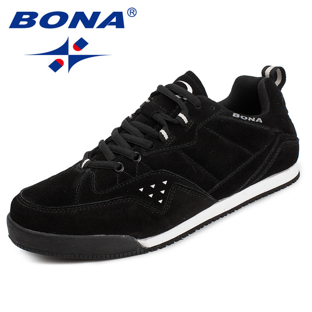 BONA New Classics Style Men Skateboarding Shoes Lace Up Men Sport Shoes Suede Men Flats Outdoor Jogging  Sneakers Free Shipping