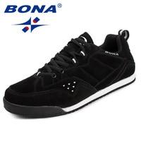 BONA New Classics Style Men Skateboarding Shoes Lace Up Men Sport Shoes Suede Men Flats Outdoor