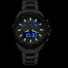 2015 Полный Нержавеющей Стали Мода Ночного видения мужская Цифровой Аналоговый Спортивные Часы мужские Водонепроницаемые Relogios Masculino Мужской