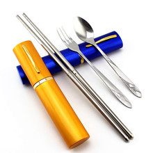 3pcs/set Chopsticks Spoon Fork Camping Cookware Stainless Steel Cozinha Dinner Tableware Set Cutlery Kit Tableware Case Bag Set